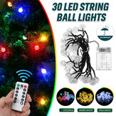 6.5M 30LED Ball String Light Outdoor Christmas Garden Party Wedding Decor Waterproof+Remote Control