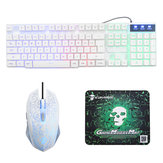 Rainbow Backlight USB Wired Gaming Keyboard 2400DPI LED Combo de mouse com mouse pad