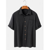 Mens Cotton Solid Color Breathable Casual Chest Pocket Light Long Sleeve Shirts