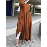 Solid Color Cotton Irregular Hem Pleats Patchwork Loose Muslim Dress