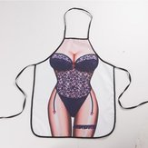 Funny Novelty Household Kitchen Cooking BBQ Polyester Sleeveless Sexy Black Lace Girl Apron