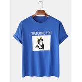 Erkek Karikatür Kedi ve Karakter Baskı Gevşek Işık Rahat Yuvarlak Boyun Pamuk T-Shirt