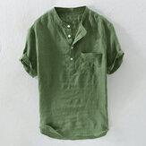पुरुषों की आकस्मिक ढीली ठोस रंग पॉकेट कपास शर्ट्स