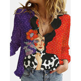 Vintage Figure Printed Long Sleeve Turn-down Collar Shirts For Women
