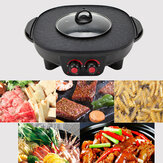 220V 2 in 1 Electric Smokeless Hotpot Oven Barbecue Pan Hot Pot BBQ Grill Machine