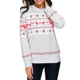 Women Long Sleeve Deer Christmas Printed Sweatshirts