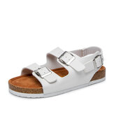 Women Casual Solid Color Dual Buckle Strap Slingback Beach Cork Sandals