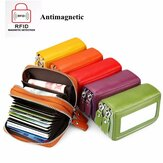 Genuine Leather RFID Double Zipper 11 Card Holder Coin Bag