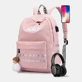 المرأة الكبيرة سعة عارضة السفر في الهواء الطلق حقيبة المدرسة الطالب مع USB شحن حقيبة مقاومة للاهتراء