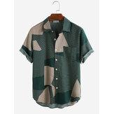 Férfi divat színes blokk csíkos rövid ujjú alkalmi ingek