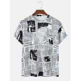 Heren krantenprint ronde hals casual T-shirts met korte mouwen
