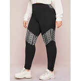 Plus Size Women Fashion Alphabet Print Patchwork Sports Casual Leggings