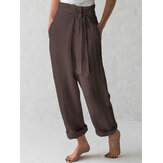 Cotton Belted High Waist Casual Wide Leg Harem Pants