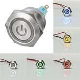 12V 6 Pin 22mm Push Botão Momentâneo Interruptor com Led Light