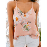 Casual Floral Print V-neck Sleeveless Holiday Wild Tank Top