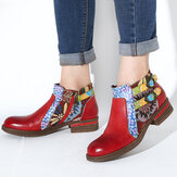 SOCOFY Leather Floral Pattern Non-slip Round Toe Block Heel Zipper Chelsea Ankle Boots