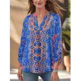 Kadın Etnik Tarzı Kabile Baskı V Yaka Uzun Kollu Vintage Bluzlar
