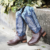 Plus Size Women Retro Floral Embroidered Mid Calf Cowboy Boots