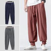 INCERUN Hombres Harem Pantalones Retro Color sólido Algodón Lino Casual Joggers Pantalones de chándal sueltos Cintura elástica vendimia Pantalones Hombres 2020