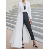 Women Party Temperament Solid Color Swallowtail Pendulum Long Blouse Coats