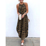 Leopard Animal Print Sleeveless High Low Hem Maxi Dress