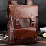Unisex PU Leather Large Capacity Travel Backpack Vintage Laptop Bag