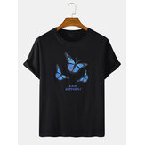 Mens Butterfly Letter Print Cotton Round Neck Casual Short Sleeve T-Shirts