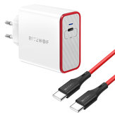 BlitzWolf® BW-PL4 45W PD Type C USB-lader EU-adapter + BW-TC17 3A USB PD Type-C tot Type-C Laaddatakabel 3ft / 0,9 m