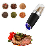KCASA KC-GEM5 Gravity Electric Salt Pepper Grinder Eficaz Multifuncton Mill Automático Bateria Powered Ajustável Grind Coarseness Azul LED Light Premium Quality Electronic Kitchen Sal Shaker Preto