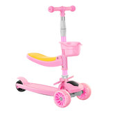 3 Wheels Kids Adjustable Kick Scooter with Folding Seat&Flashing Wheel for Aged 3-6 Roller Children Toy