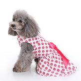 vendimia Rosa Polka Dot Perro Vestido para ropa de mascotas chaleco camisas