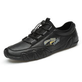 Men Leather Comfy Breathable Elastic Lace Casual Driving Flats