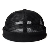 Men Mesh Cotton Skull Cap Retro Circular Adjustable Breathable Melon Hat Brimless Hats