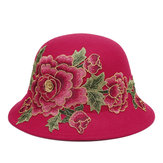 Women's Ethnic Red Peony Bucket Hat Flower Embroidery Cap
