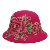 المرأة العرقية الفاوانيا دلو قبعة زهرة التطريز كاب