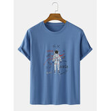Cartoon Astronaut Pattern Script Print Short Sleeve Cotton Breathable T-Shirts