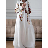 Women Floral Print V-Neck Long Sleeve Holiday Casual Maxi Dress