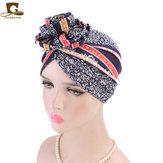 Bonnetstylefemmeencotonà motif floral turban