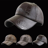Collrown Men PU Leather Retro Baseball Cap z nadrukiem Logo Outdoor Warm Cap