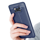 Bakeey for POCO X3 NFC Case Litchi Pattern with Lens Protector Shockproof PU Leather + TPU Soft Protective Case Back Cover Non-original