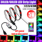1M 2M 3M 4M 5M USB bluetooth RGB LED Strip Light 5050 APP Controllo vocale lampada non impermeabile per Room TV Party Bar