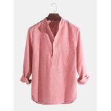 Мужские повседневные рубашки Платье Рубашки Полосатый воротник Henley V-образным вырезом футболки Топы на пуговицах