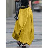 Faldas informales sólidas con cremallera de bolsillo lateral de cintura elástica alta de algodón para mujer