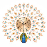 60x60cm 3D Large Big Peacock Wall Clock Living Room Bedroom House Decorations