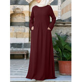 Solid Color Pleats Long Sleeve Kaftan Tunic MuslimMaxi Dress with Front Pockets
