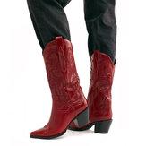حجم كبير ريترو النساء الأزهار كعب مكتنزة أحذية رعاة البقر منتصف العجل