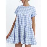 Vestido midi casual com estampa xadrez redonda em torno do pescoço e manga curta vestido midi festivo