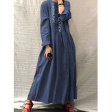 Women Vintage Ethnic Embroidery Button Front Long Sleeve Shirt Maxi Dresses