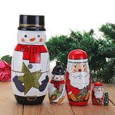 5PCS Russian Wooden Nesting Matryoshka Doll Handcraft Decoration Christmas Gifts