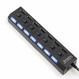 7 Port High Speed USB 2.0 Hub   Power Adapter ON/OFF for Switch for MAC PC Laptop